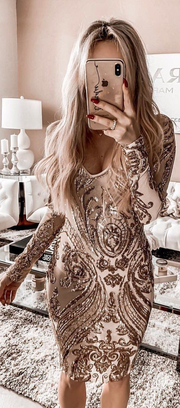 beaded brown and beige scoop-neck long-sleeved mini dress