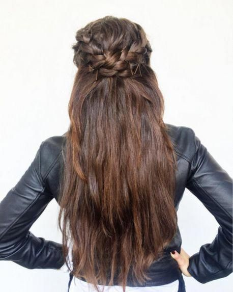 How: Two dutch braids starting at temples. Loop braids into each other and pin. #longhairstyles