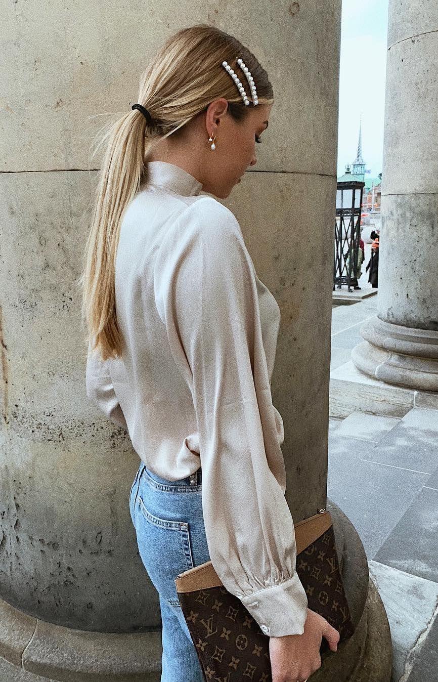 Silk blouse, jeans and pearl hair-slides #hair #winterfashion #winteroutfits #womensfashion