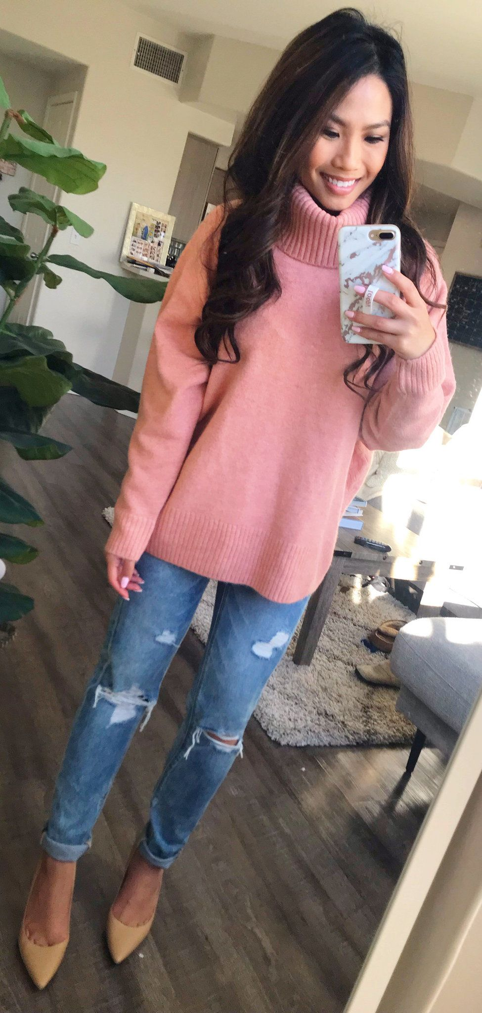 pink sweater #spring #outfits