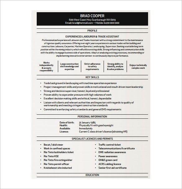 Resume Template Australia Free Download Australian Resume - carpenter resume example