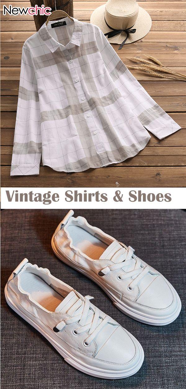 Vintage Plaid Long Sleeve Shirts
