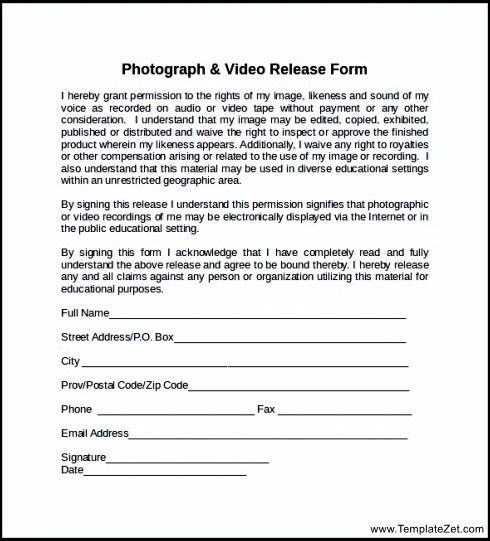 General Release Forms Tv Talent Release Form Tv Talent Release Form - video release forms