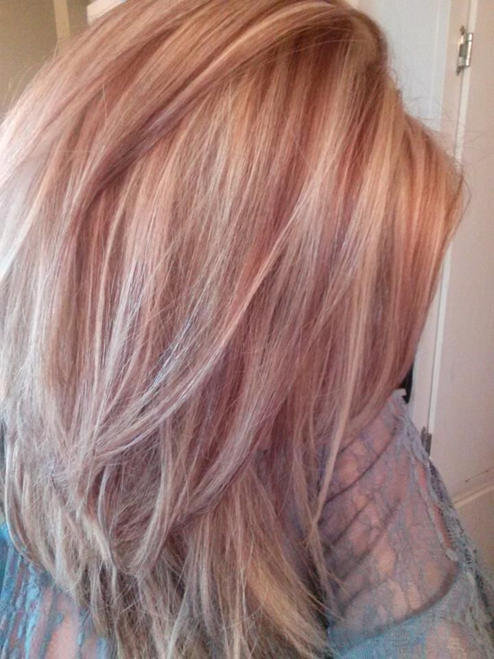 Light Blonde With Red Lowlights For Fall Rose Gold Hair 3