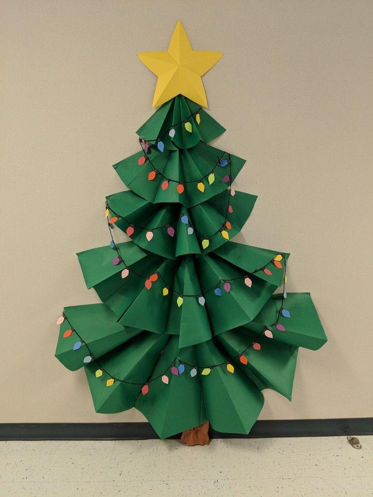 3 D Christmas Tree Bulletin Board Christmas Bulletin Classroom Christmas Decorations Christmas Classroom