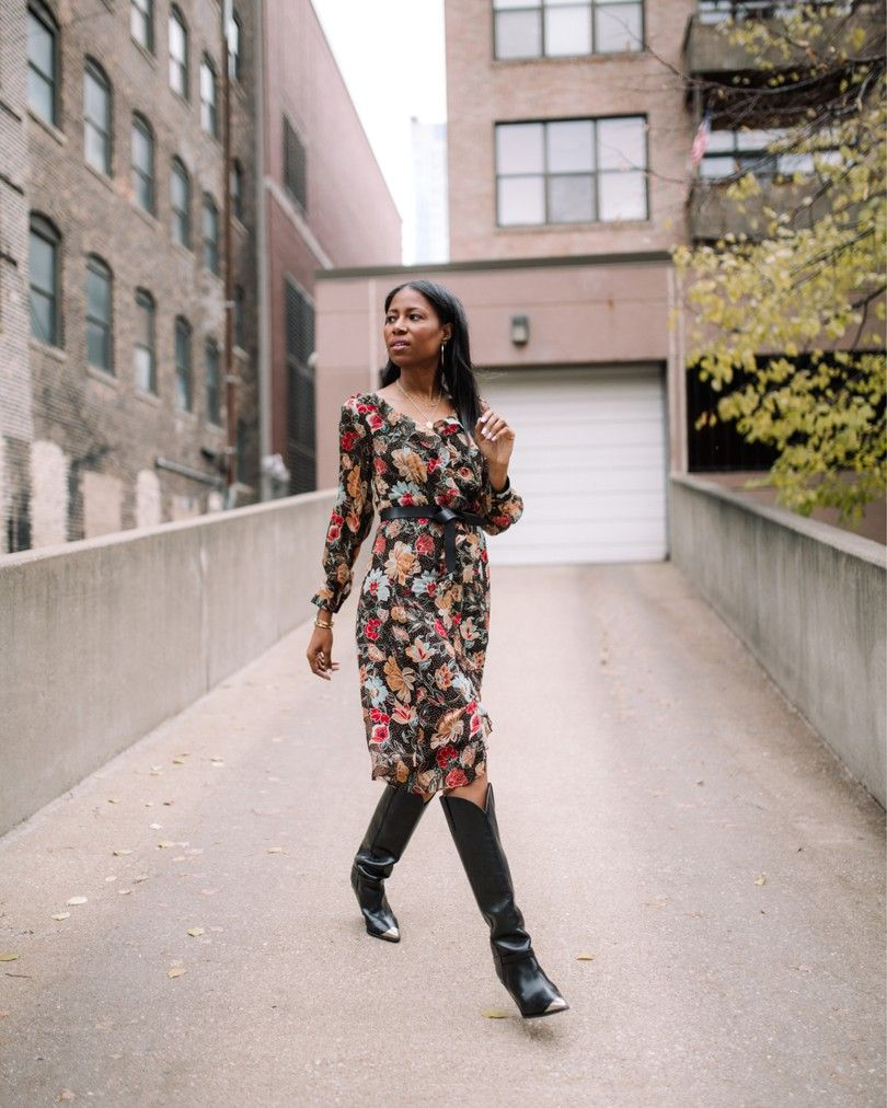 florals + tall boots