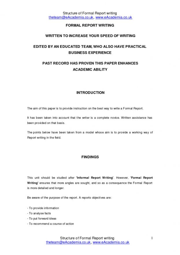 technical report writing template