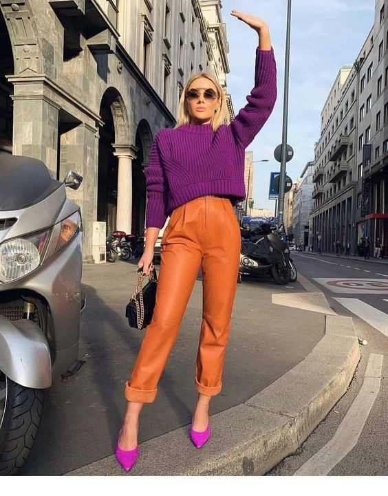 Purple and orange outfit