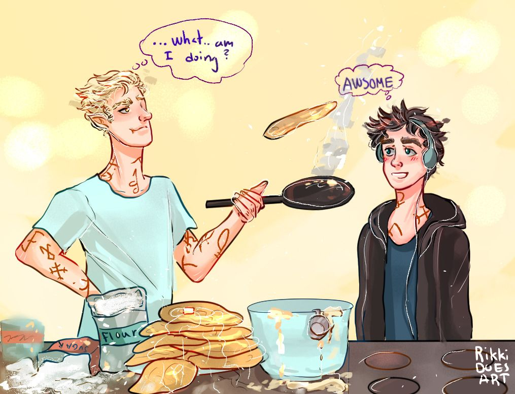 "rikkidoesart: ""Y'know how Cassandra Clare said Ty thought Mark's cooking was excellent? I got a request to draw Mark and Ty because their relationship is so beautiful and dynamic, and this was all I could think of ;) """