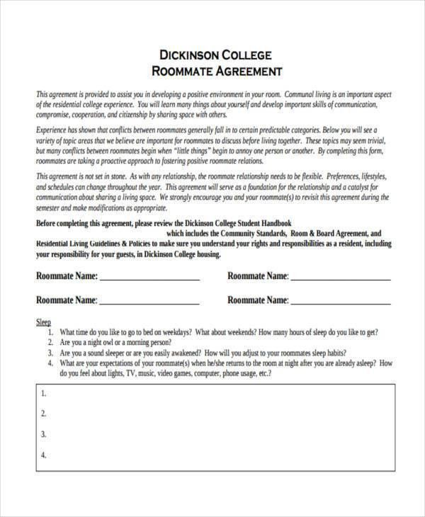 Roommate Agreement Template Roommate Contract Room Rental - agreement form sample
