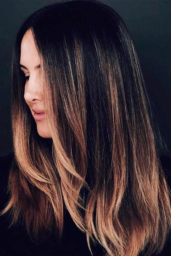 Dark Chocolate Hair With Layered Blonde Tips #brunettehair #layeredhair ★ Light and dark brown hair with highlights and lowlights looks spectacular. Discover trendy color ideas for short and long hairstyles. #glaminati #lifestyle #brownhairwithhighlights