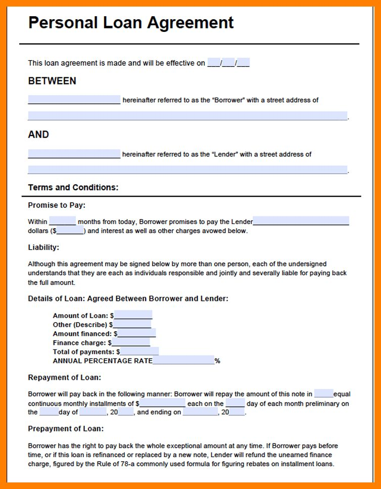 Loan Agreements Templates 5 Loan Agreement Templates To Write - free personal loan agreement form