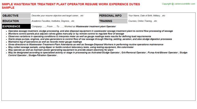 Boiler Plant Operator Sample Resume Professional Boiler Operator
