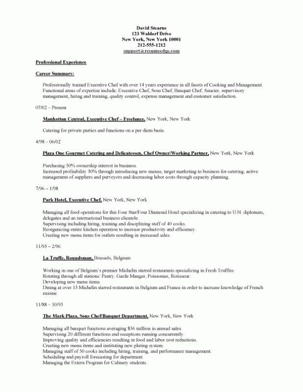 Cook Resume Example Prep And Line Samples