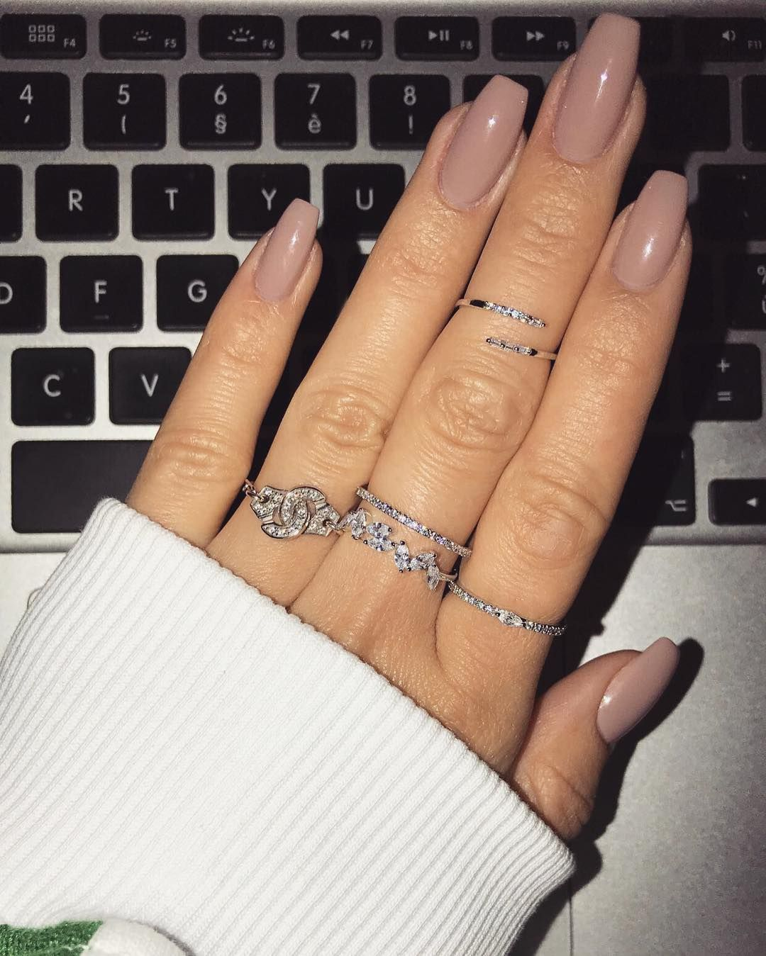 I like the stackable rings, the fact that they are silver, and a little glitzy but not too bad.