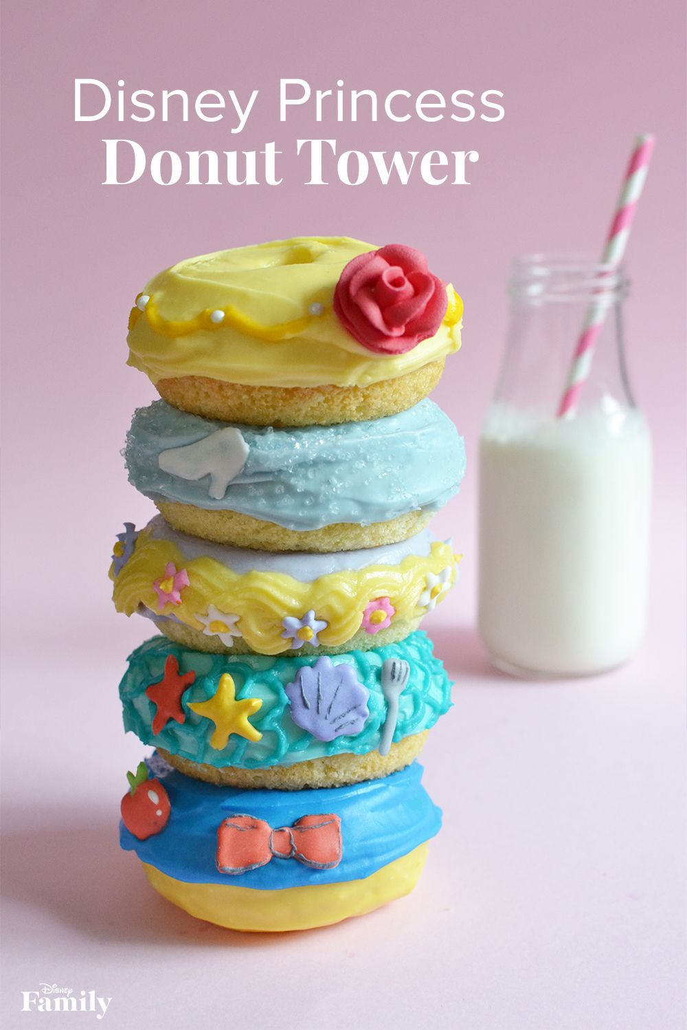 Inspired by the enchanting world of Disney Princesses, this five-tiered donut tower features Belle, Cinderella, Rapunzel, Ariel, and Snow White. These Disney Princess Donuts are perfect for a kids party or as an alternative to a birthday cake! Click for the Disney Princess recipe.