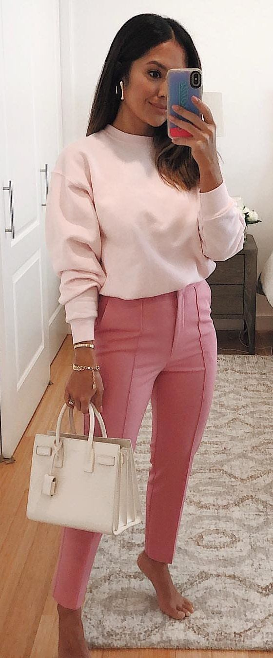 pink sweater and fitted pants #spring #outfits