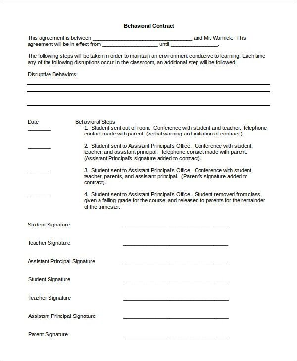 Contract Word Contract Templates Microsoft Word Templates, 14 - sample behavior contract