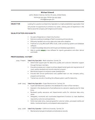 Data Entry Resume Example - Examples of Resumes