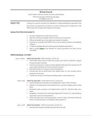 sample resume for data entry
