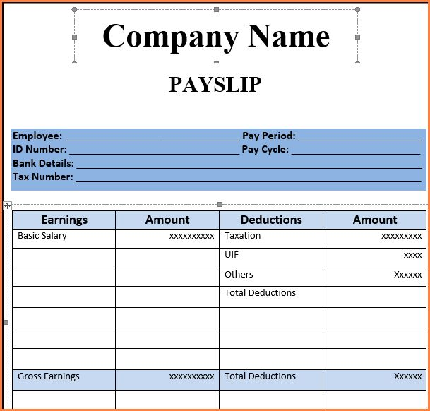 7+ Free Salary Payslip Template Excel | Sales Slip Template  Free Wage Slips Template