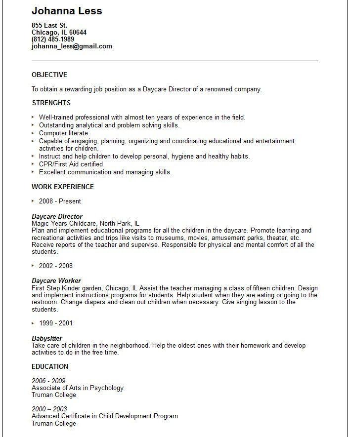 Daycare Resume Objective Resume Sample Resume Objective For Child - babysitter resumes
