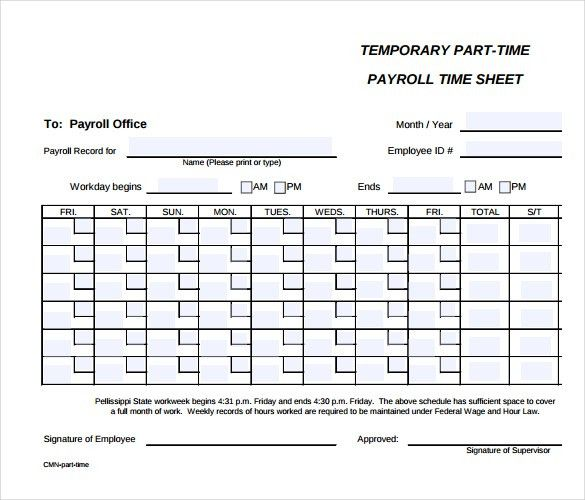 This is an image of Printable Time Card in blank