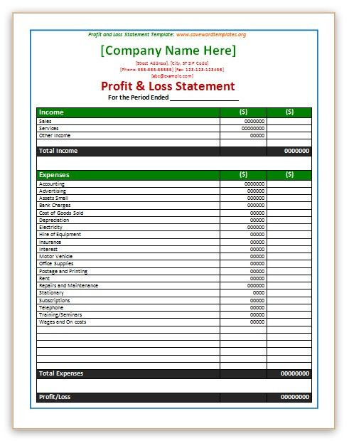 business profit and loss statement template templatebillybullock - business profit and loss
