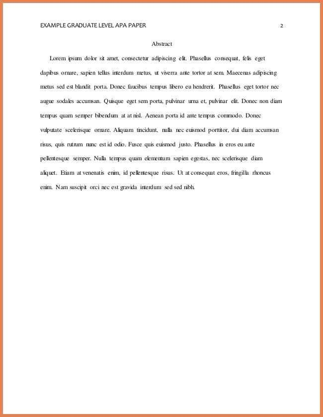 Apa Sample Essay Paper Abstract Example College Of Social Science