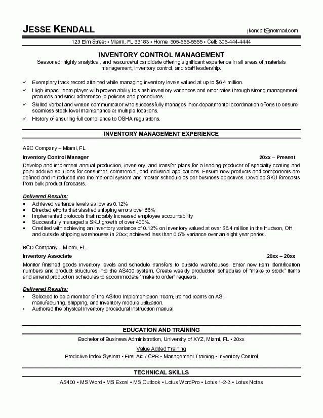 Warehouse Management Resume - Resume Sample
