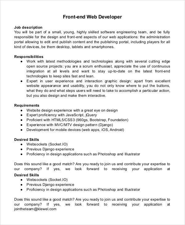 App Developer Job Description Mobile App Developer Job - software developer job description