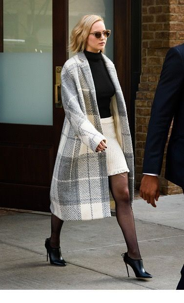 Black and white look with a long plaid coat