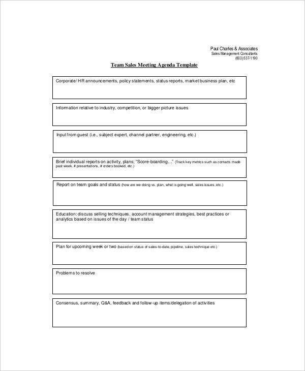 12+ Sales Meeting Agenda Templates U2013 Free Sample, Example Format .  Business Meeting Report Template