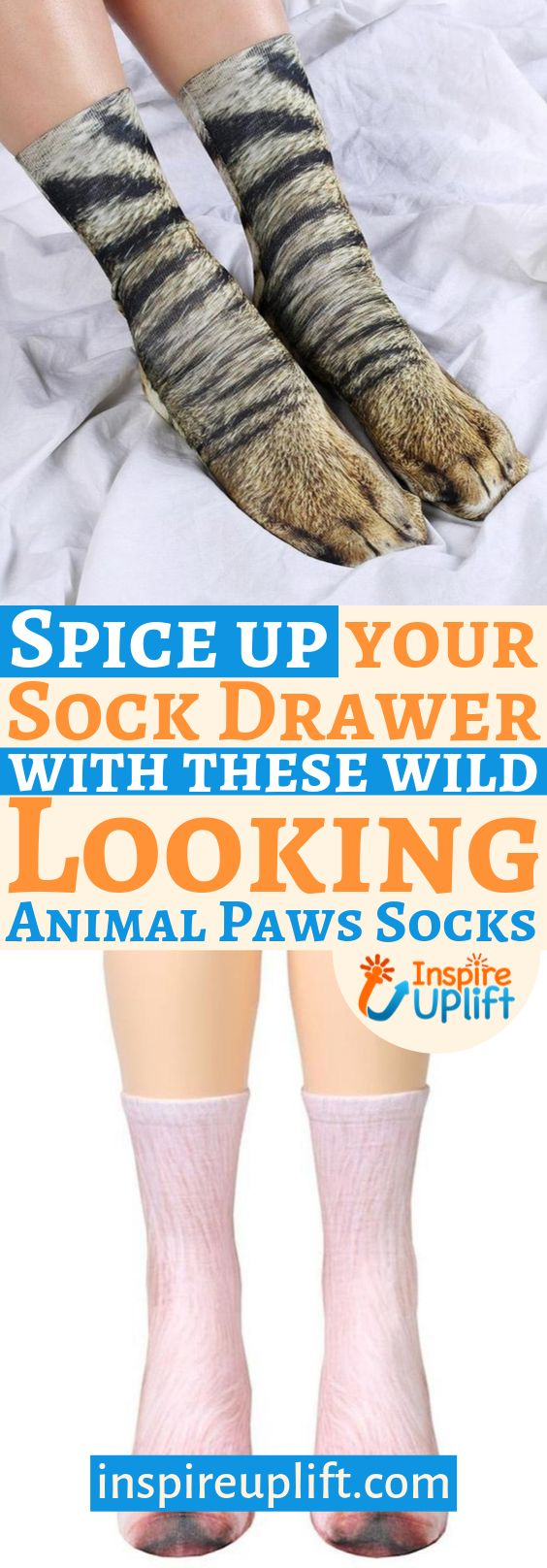 Have you ever dreamed of taking a walk on the wild side? Well, now you can, thanks to these funky, Animal Paws Socks! Turn your feet into animal paws and you'll be walking on the wild side in your own home! These adorable, animal print socks are made from 100% polyester and there are a wide variety of designs to choose from.