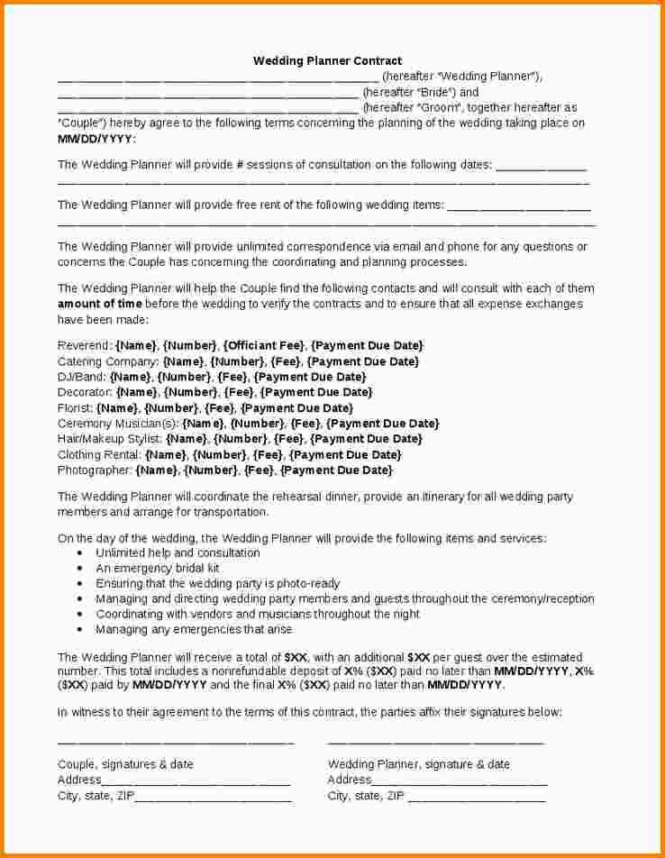 event planner contract example