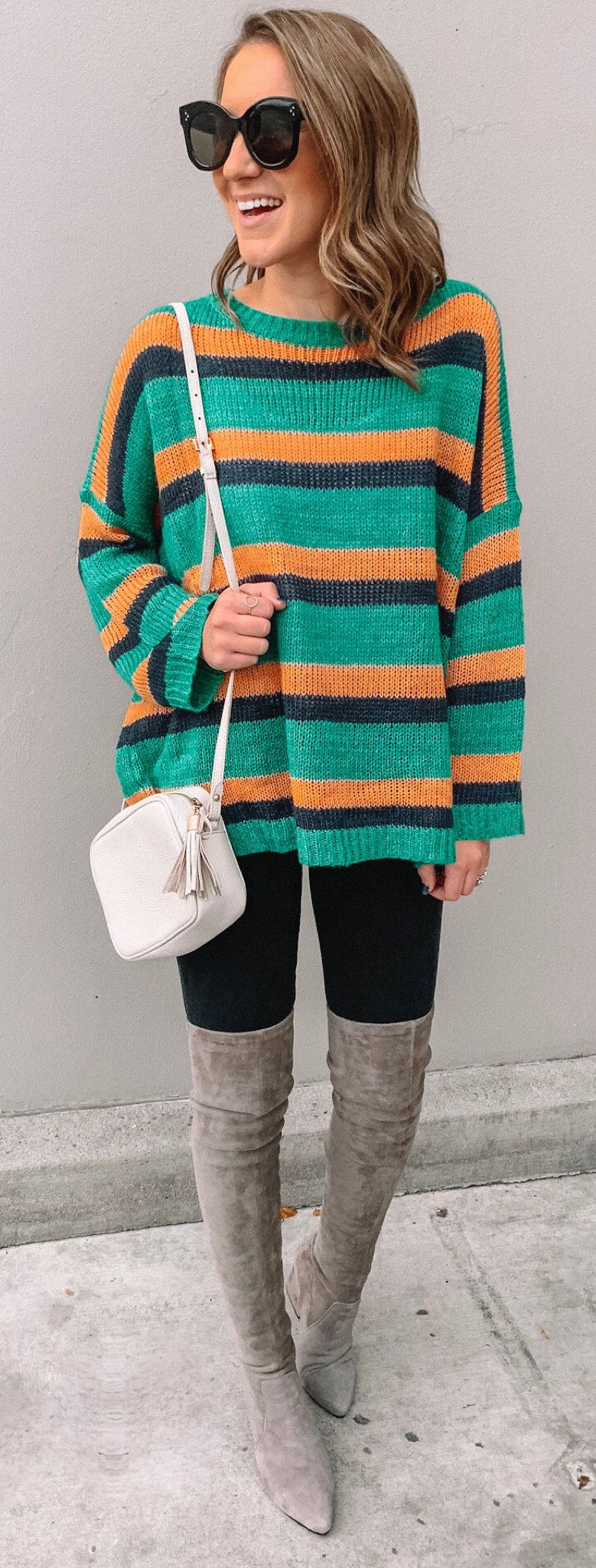 green, black, and orange stripe sweater