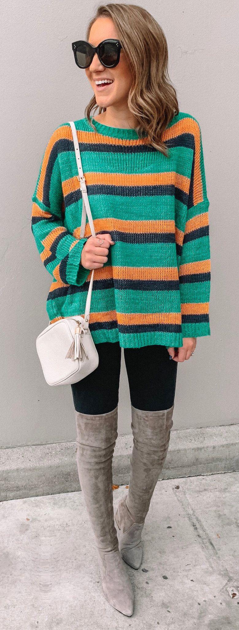 green, black, and orange stripe sweater