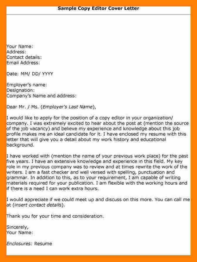 online copy editor cover letter