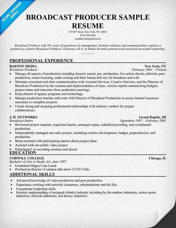 post producer sample resume cvresumeunicloudpl - Broadcast Producer Resume