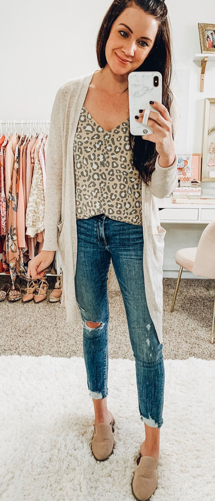 white and brown leopard-print inner top #spring #outfits