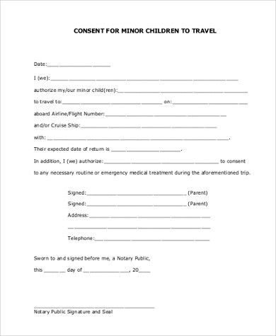 free child travel consent form template | node2002-cvresume ...
