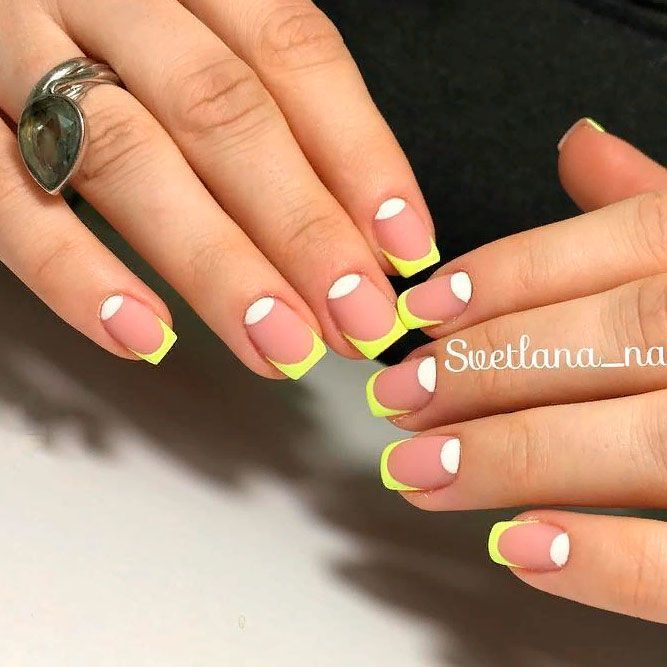 Matte Yellow French Tips #brightmani #mattenails ★ Unique and classy French manicure for your elegant look! #glaminati #lifestyle #frenchmanicuredesigns