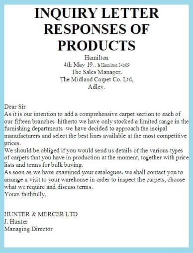 Example Of Inquiry Letter For Product Letters Of Inquiry, Letter - inquiry letter