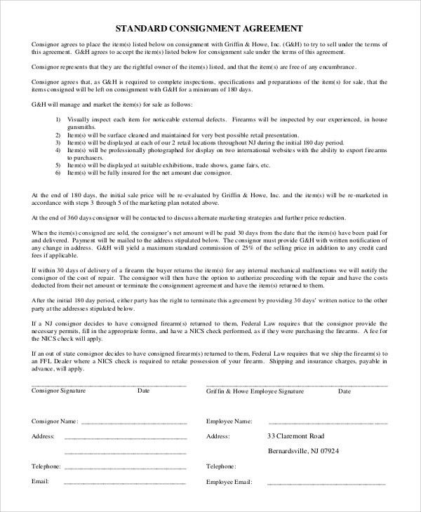 Doc#585724 Sample Consignment Agreement u2013 Consignment Contract - consignment agreement template