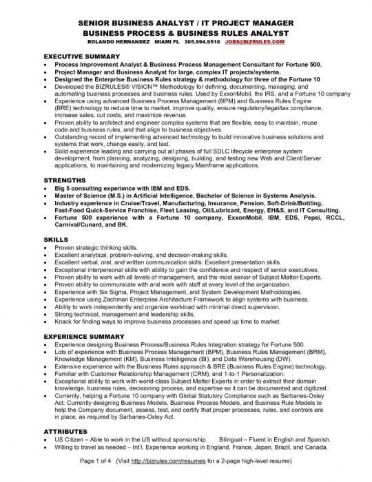 Ba Sample Resume Business Analyst Resume Sample Writing Guide Rg