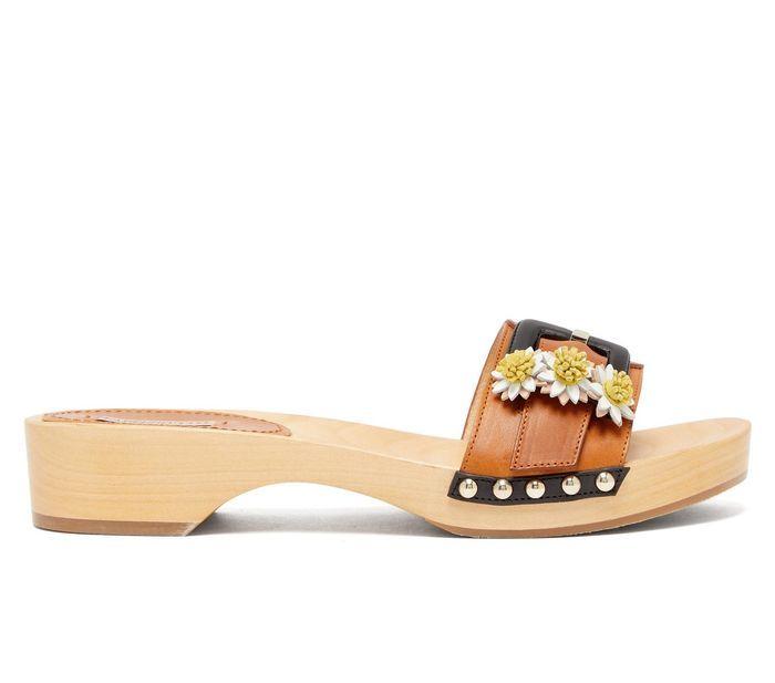Fabrizio Viti Daisy Appliqué Leather and Wooden Slides