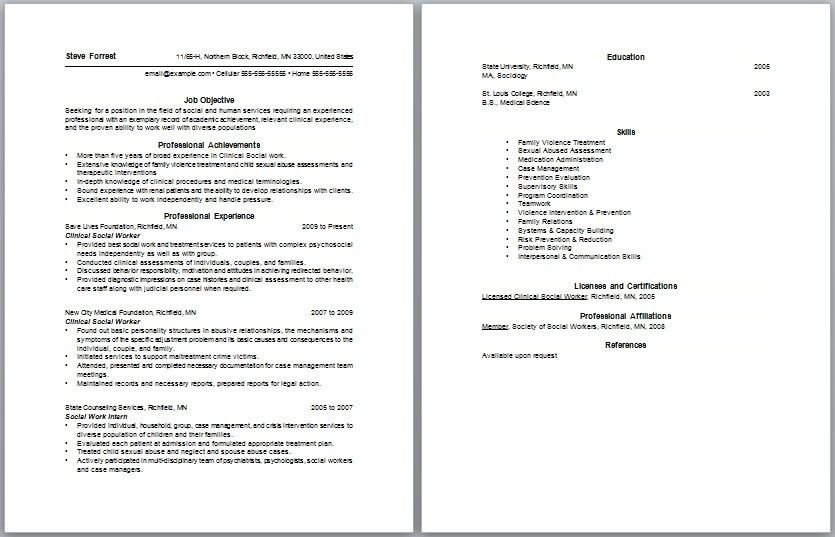 Social Work Resumes Examples - Examples of Resumes