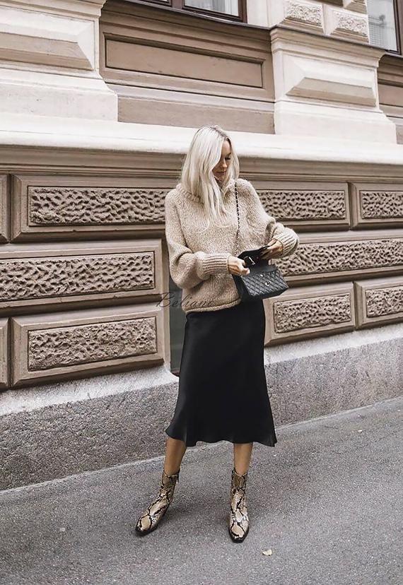 Silk skirt midi long fall look black a-line skirt outfit Silk | Etsy