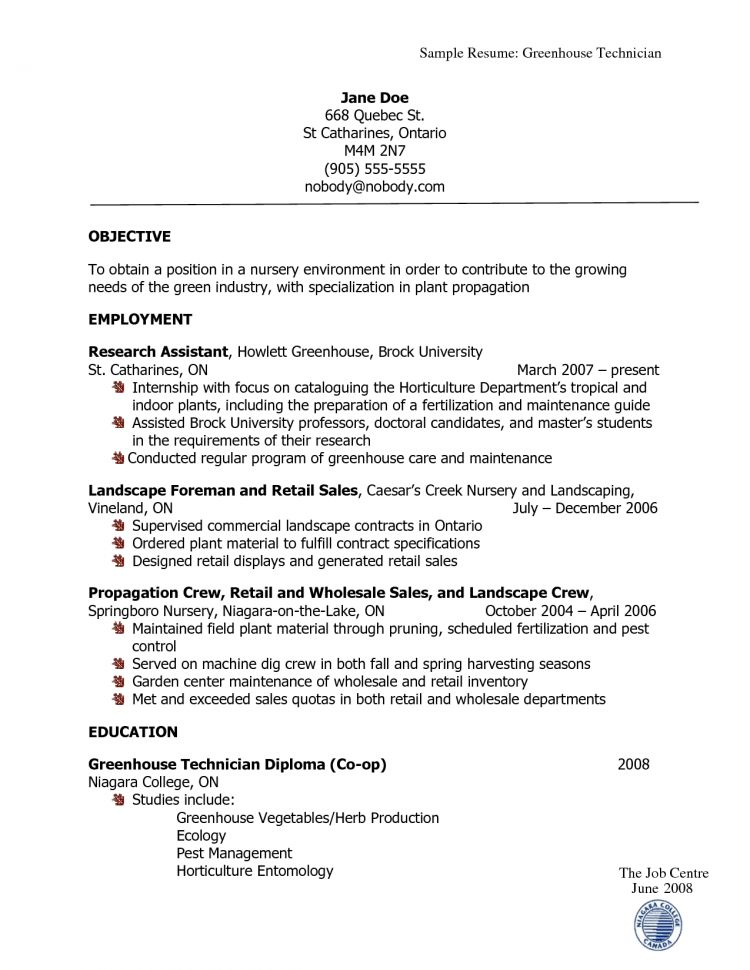 Horticulture Resume Examples Agriculture Resume Template Resume .  Landscaping Resume Examples