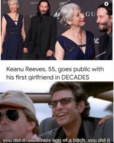 We're not crying, YOU'RE crying. #KeanuReeves #Memes #Dating #Cute #Aww #Wholesome #Relationship #AlexandraGrant